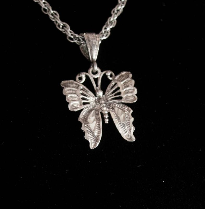 Sterling necklace Butterfly necklace Magical insect diamond cut silver fine womens jewelry Birthday for her Irish gift
