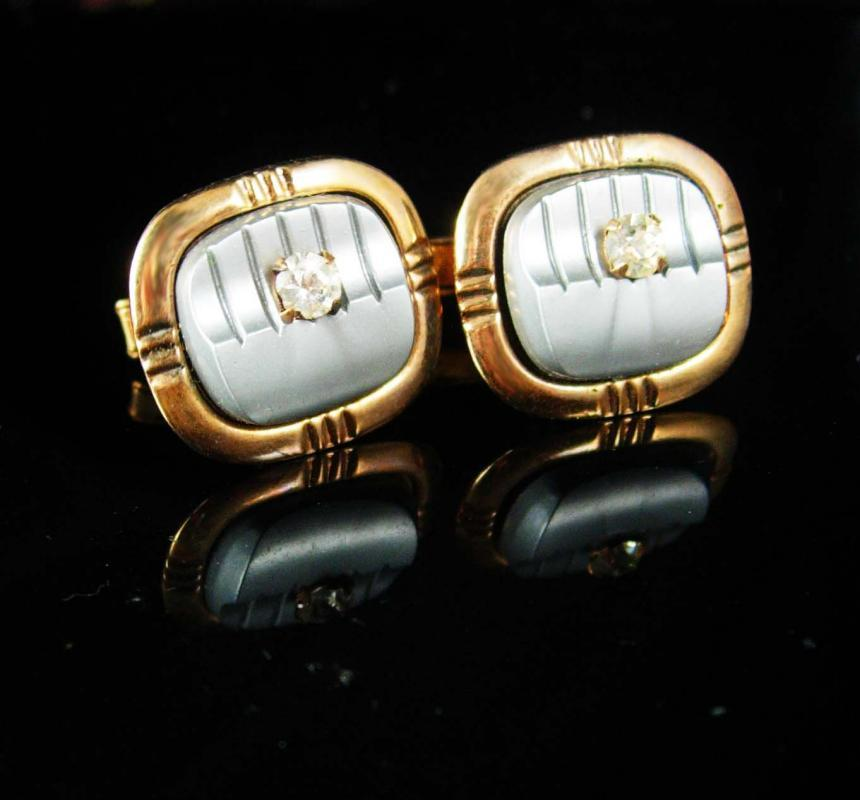 Tuxedo Cufflinks Vintage gold Cufflinks Grey gray lucite rhinestone cuff links groom cufflinks father of the bride gift