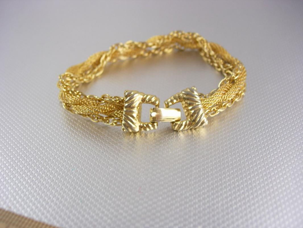 Goldette Woven Mesh Bracelet with chains