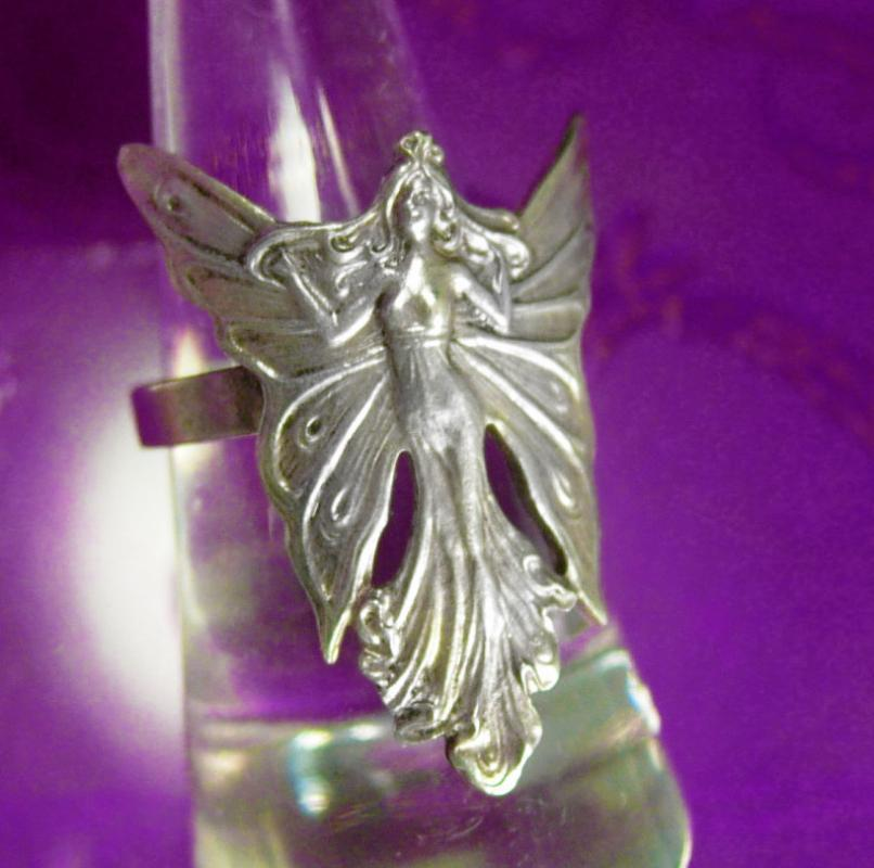 Art Nouveau Fairy Ring sterling Vintage Nymph Goddess mystical winged creature size 6 1/2 to 7 adjustable silver