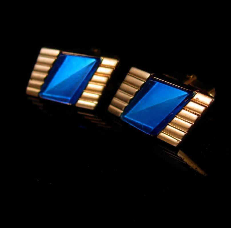 DECO Electric Blue Cufflinks vintage cufflinks Set Designer Cuff links Anson cufflinks wedding groom cufflinks jewelry formal wear