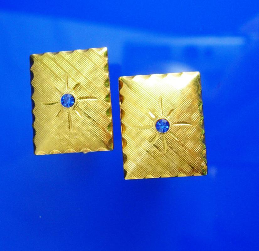 Classic Blue Cufflinks Vintage starburst rhinestone tuxedo accessory foram wear petite  Mens Women's Cuff Accessory 65th 18th anniversary