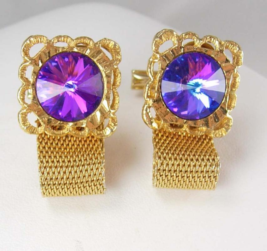 Purple Rivoli Cufflinks Vintage Prism Floral Mesh Wrap Sculpted WOMENS Border Shirt cuff links mens gold cuff links Accessory