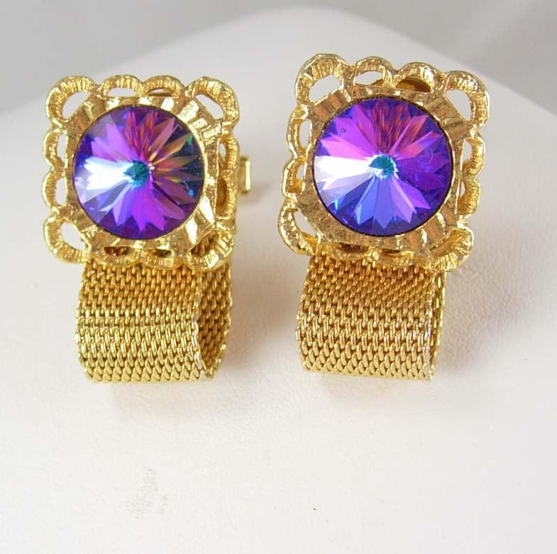 Purple Rivoli Cufflinks Vintage Prism Floral Mesh Wrap Sculpted WOMENS Border Shirt cuff links mens gold cuff links Accessory