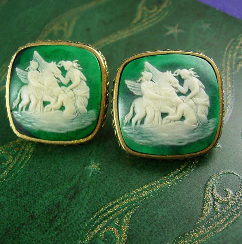 HUGE Mythology Cufflinks 3 Graces &  Pegasus VintageExtra large Mythical Winged Horse Signed Miniature Art Designer Dante Cuff Accessory