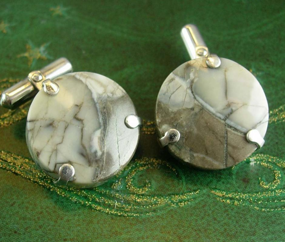 Haunted cufflinks Vintage cufflinks eerie Gray cufflinks Marble Destino Agate spooky looking hinged back granite silver mens accessory