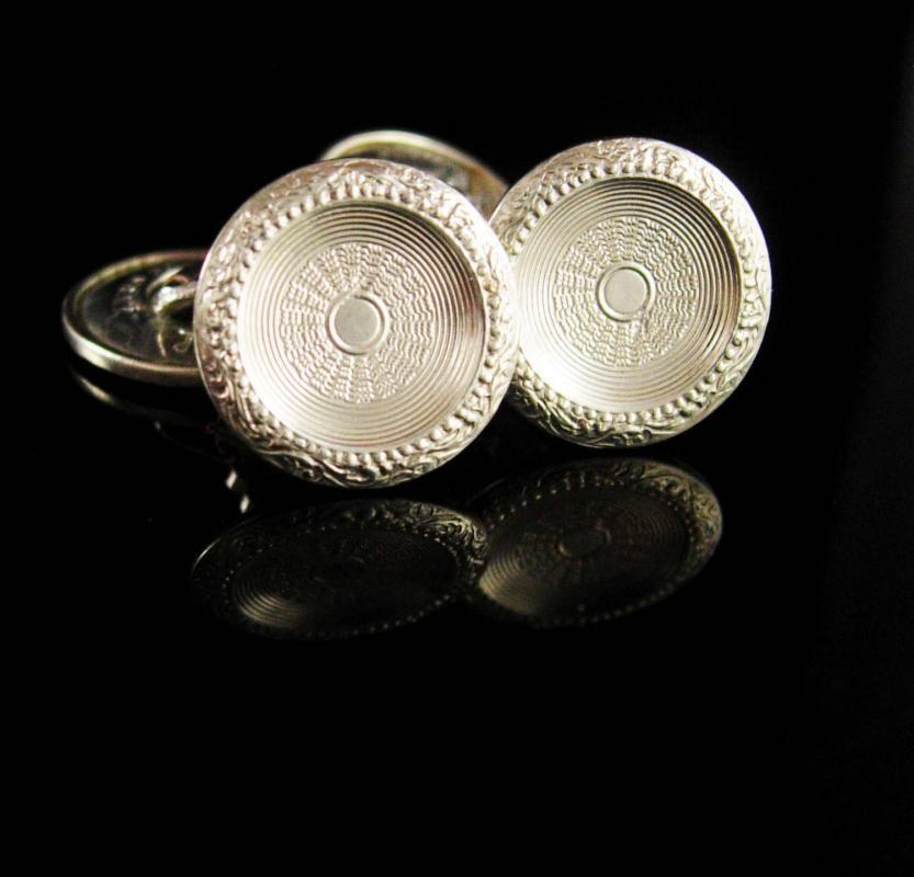 White Gold cufflinks Victorian Cufflinks fully hallmarked vintage CuffLinks fancy  groom cufflinks  tuxedo jewelry antique estate  accessory
