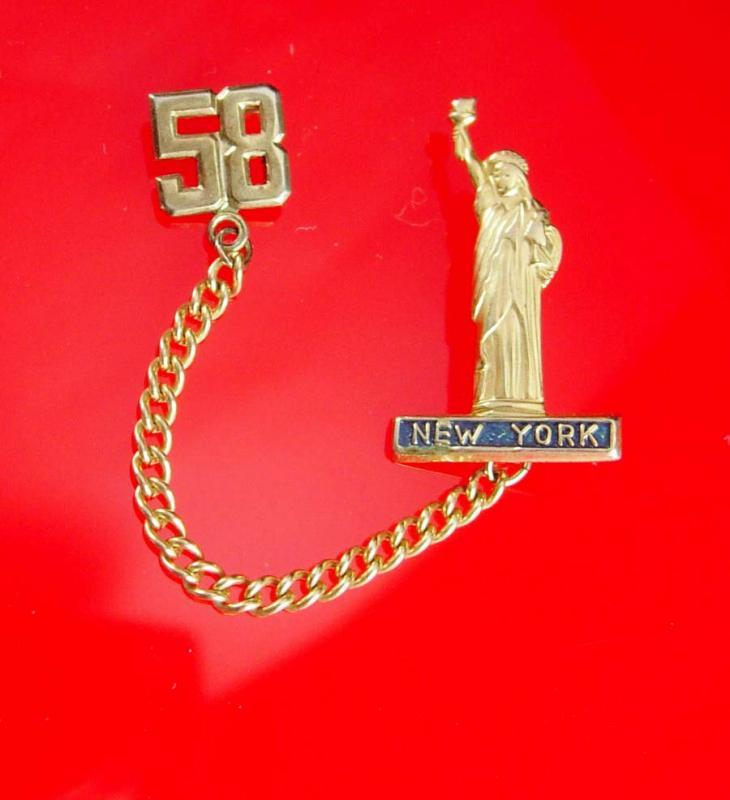 1958 Patriot brooch pin  Vintage Statue of Liberty NEW YORK Souvenir USA  God Bless America Clothing Accessory