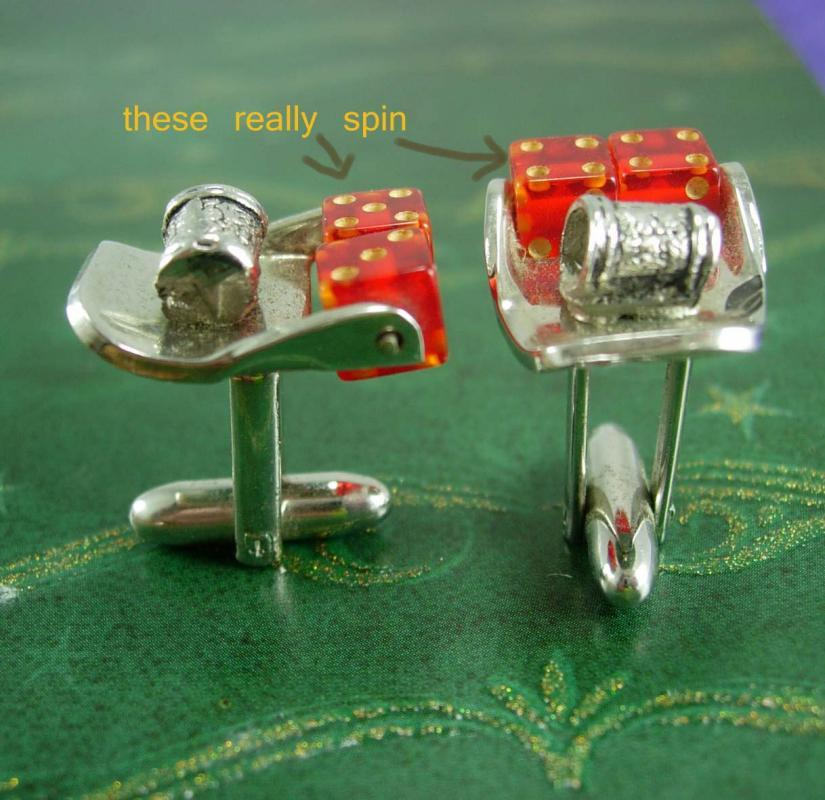 Moveable dice Cuff links THAT SPIN Craps table Casino Cufflinks Vintage Gambling Mechanical Betting Dealer Lucky Number HIGH Roller