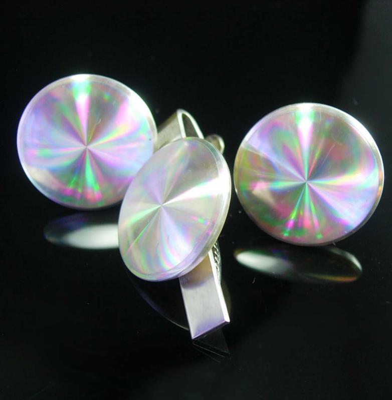 Psychedelic Disco Cufflinks Vintage Magician Optical illusion Tie Clip Men's Hypnotic Accessory platinum Record artist silver cuff links
