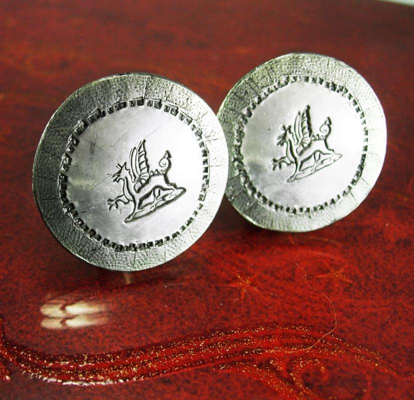 Large Griffin Cufflinks Vintage Winged Lion Guardian Gothic Medieval Mythical Silver Men's Beast Clothing mythology winged dragon Accessory