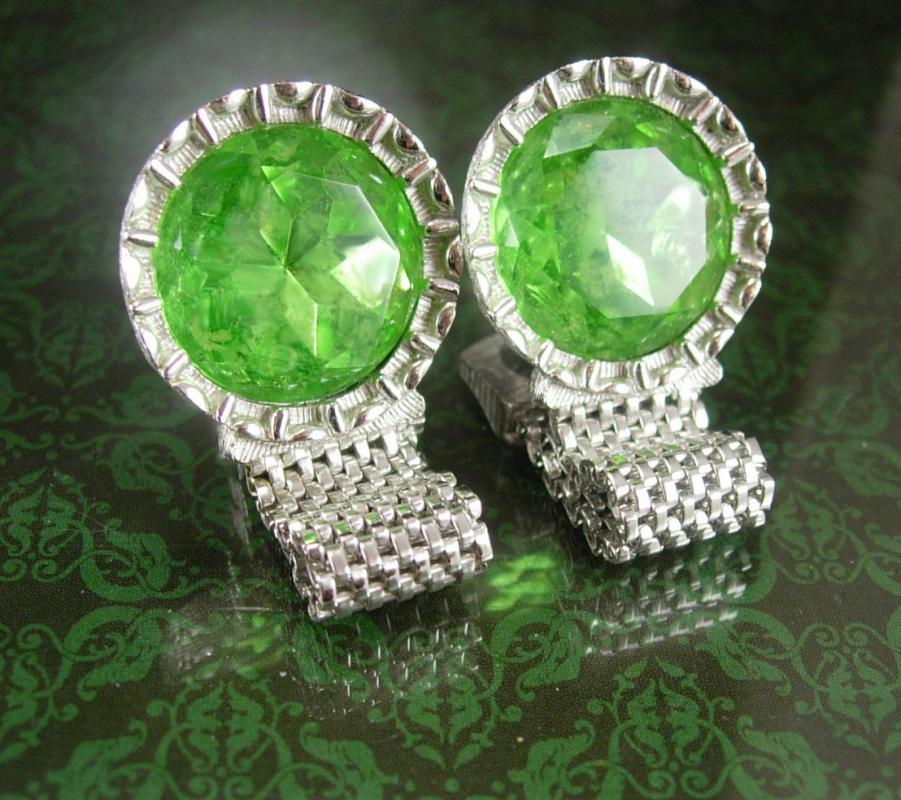Vintage Green star cuff links Wrap Mesh swank Cufflinks Rhinestone Silver st patricks day  Wedding Birthday Irish cuff links