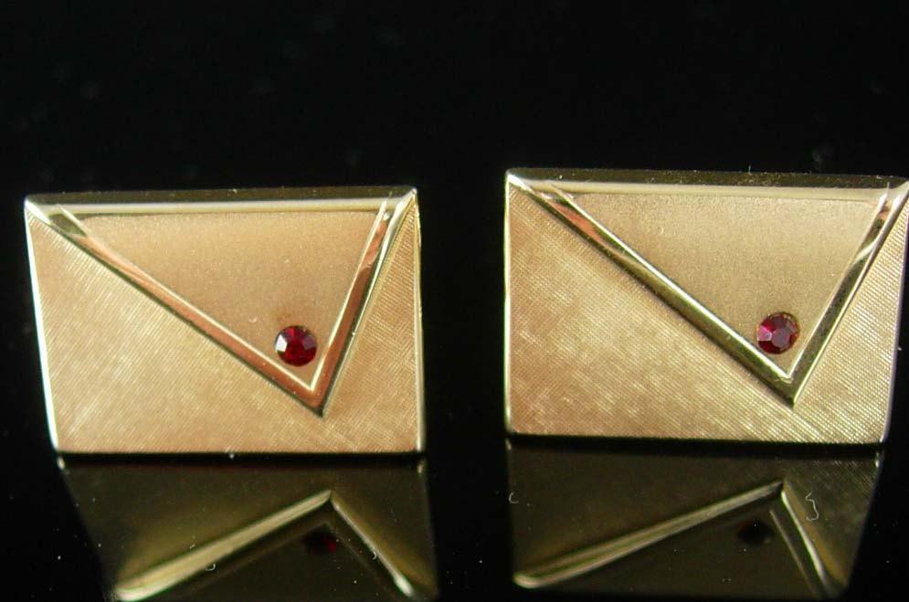 Vintage Envelope Cufflinks Romantic garnet Brushed Gold Clutch Purse Wedding Birthday Swank 15th 40th 45th anniversary Birthstone January