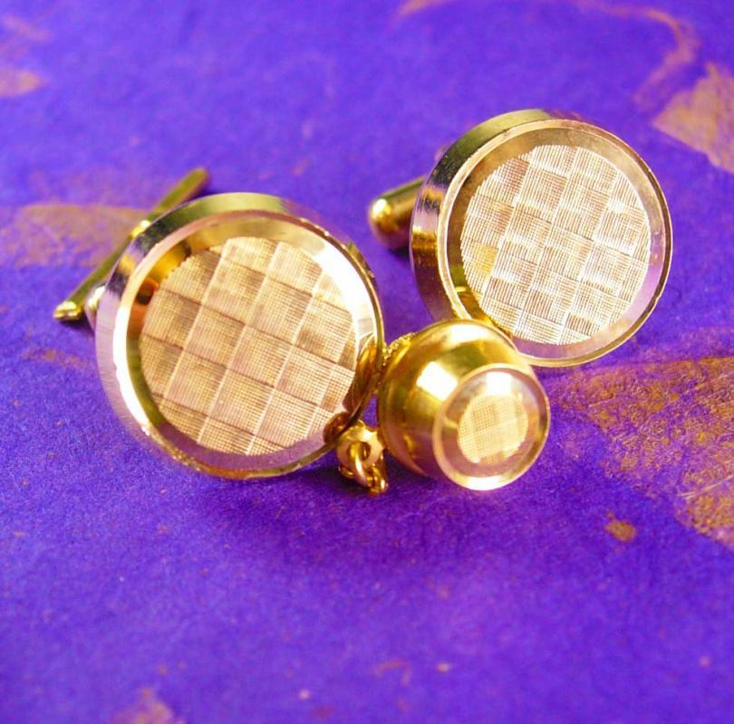 Holographic etched Disco Cufflinks Vintage Tie Tack Angled Posts Wedding Jewelry