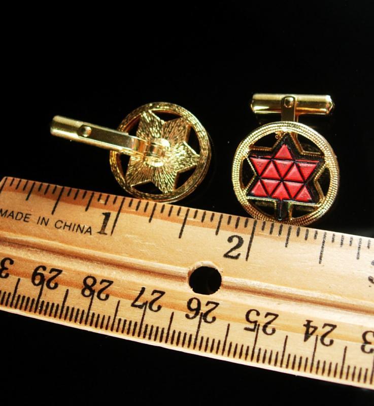 3D red jewish STAR Cufflinks Vintage gold Unisex Cuff Accessory Decorative mosaic geometric tree leaf judaica patent 2093723 2544893