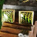 Elegant Black and Green Striped Cufflinks Vintage Czech Glass 14kt gold Stripes Cuff Accessory