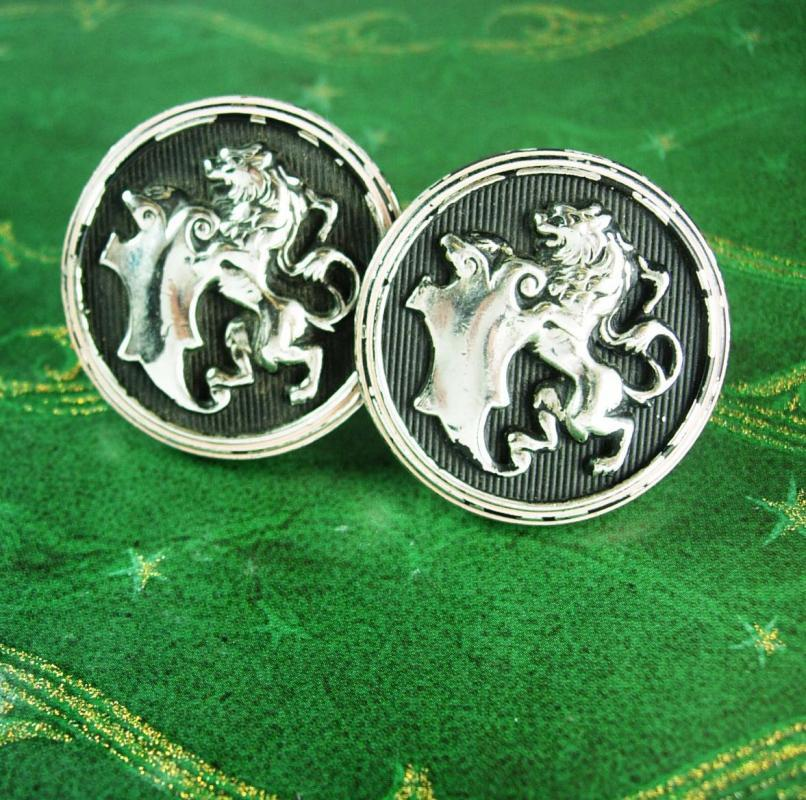 HUGE cufflinks English ROYAL Lion Cufflinks Vintage Crown LEO  Figural Designer hickok cool mens gift estate jewelry July august birthday