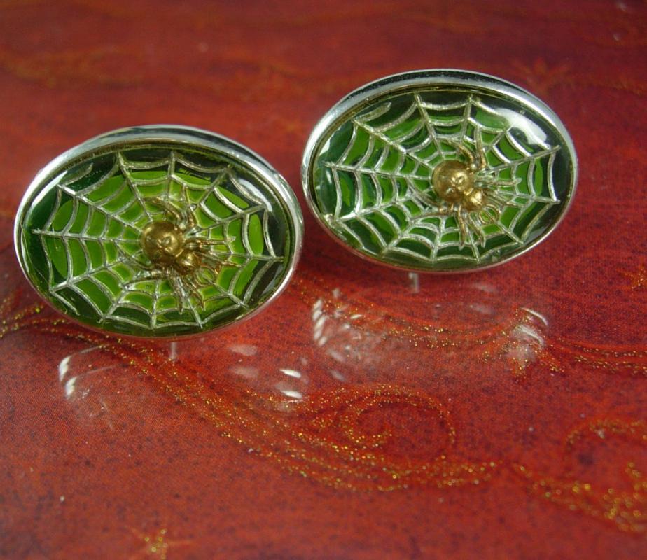 Vintage Spider web cufflinks Green looks so real spooky Cross inside body Religious masonic hidden symbolism green cuff links cool mens gift
