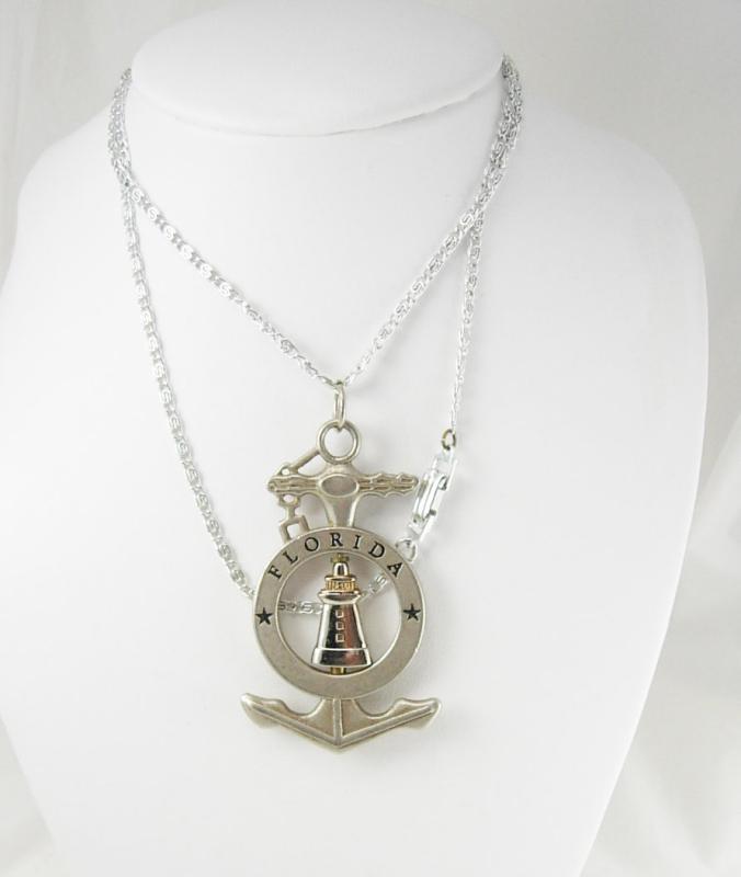 Nautical necklace Lighthouse Spins Mechanical Anchor Pendant  Vintage silver  Florida Tourist Holidays Birthday Souvenir