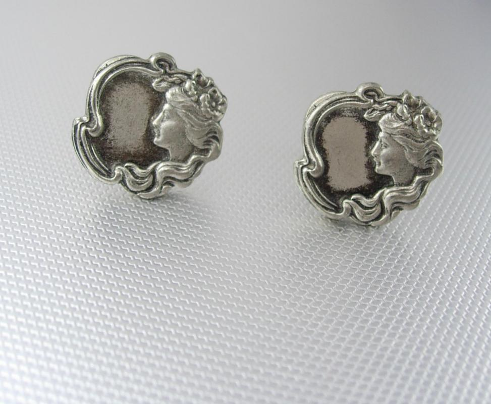 Art Nouveau Gibson Girl Cufflinks Vintage Pewter Picture Frame Mirror Engravable Patent Valentines