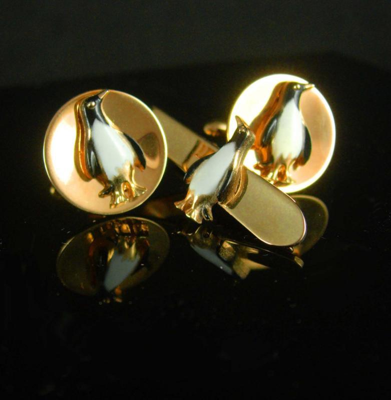 Vintage Penguin Cufflinks Bartender cufflinks Tuxedo cufflinks bird cufflinks mens gold cufflinks anson novelty Bird lover gift