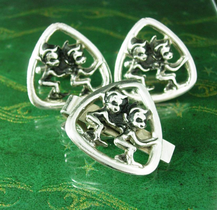 Elf Gnome Cufflinks Large Tie clip Enamel gag gift silver novelty cuff links Christmas santa helper figure pixie Tie bar