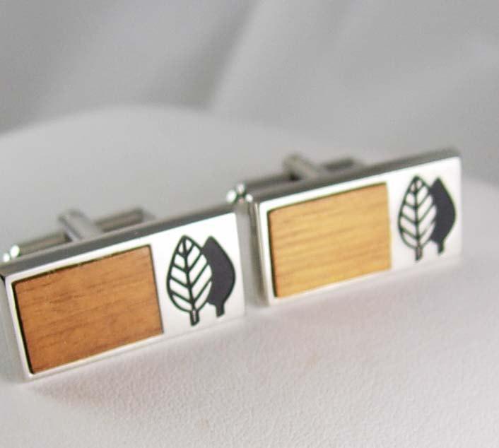 Environmentalist save the trees Cufflinks wood enamel silver GEEK  tree hugger Conservationist Hickok designer mens cool gift arborist