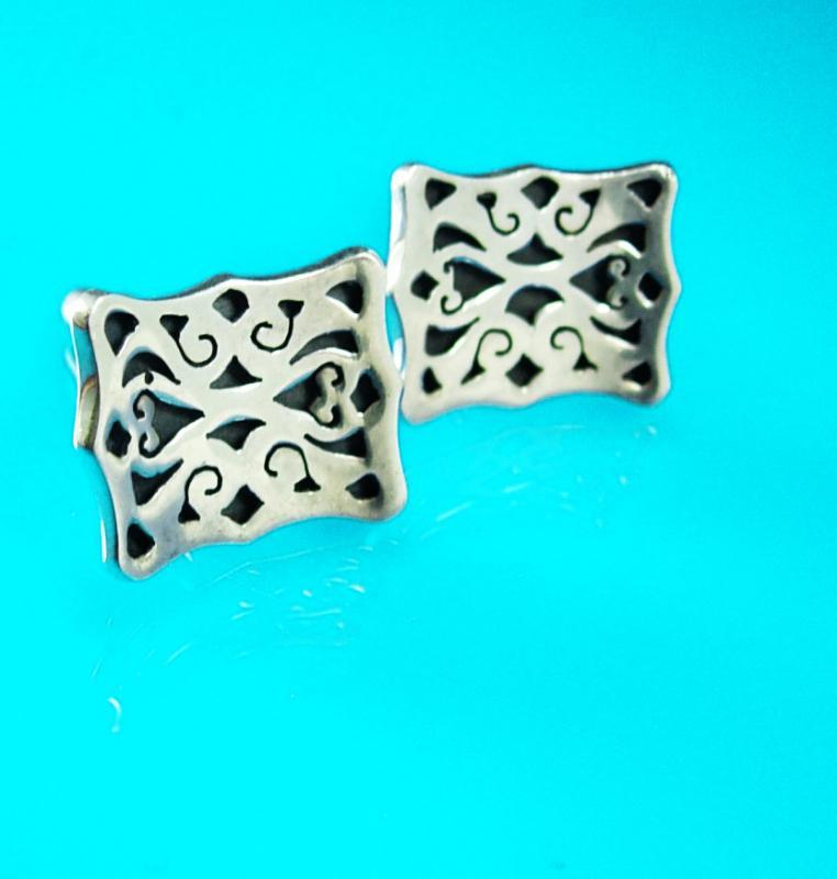 Elegant Sterling Cufflinks Vintage shadowbox design Cuff Links Abstract Signed Spinosa Mexico silver Shirt Sleeve Jewelry Tuxedo set