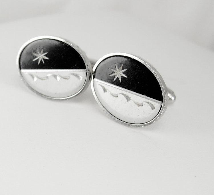 Vintage Art Deco Cufflinks Star Wave Engraved Silvertone Black Onyx Birthday Business Wedding Signed Anson