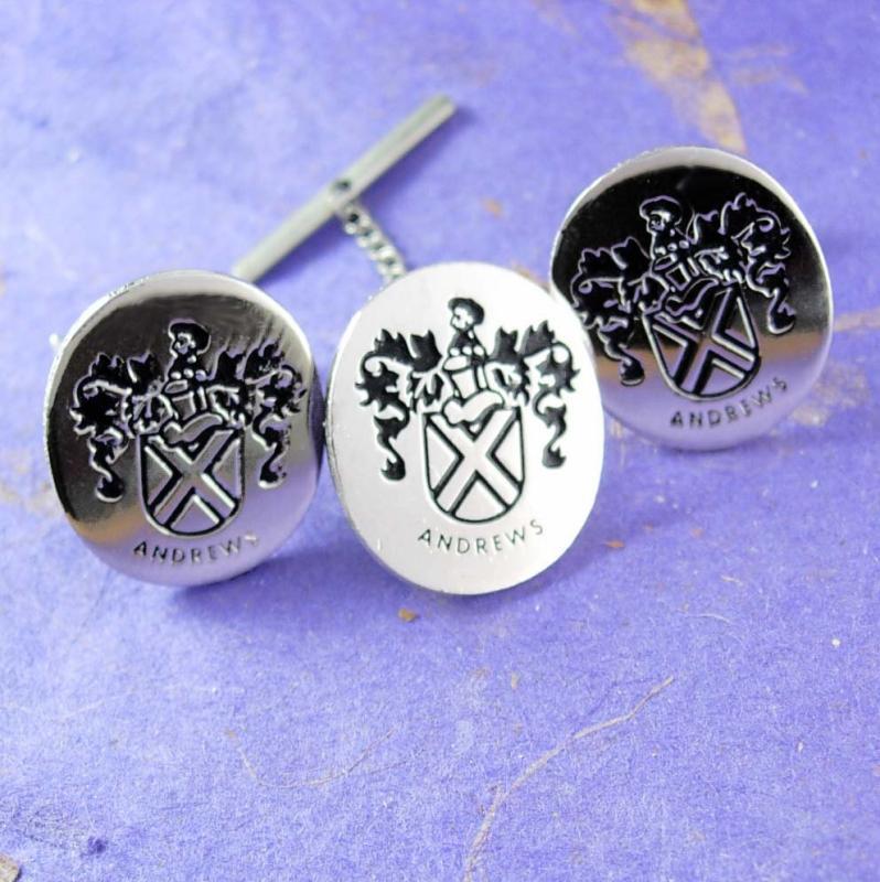 Andrew family crest Cufflinks Silver Black Enamel Tie Tack set wedding groom marriage Signet Monogrammed Vintage Fine Jewelry