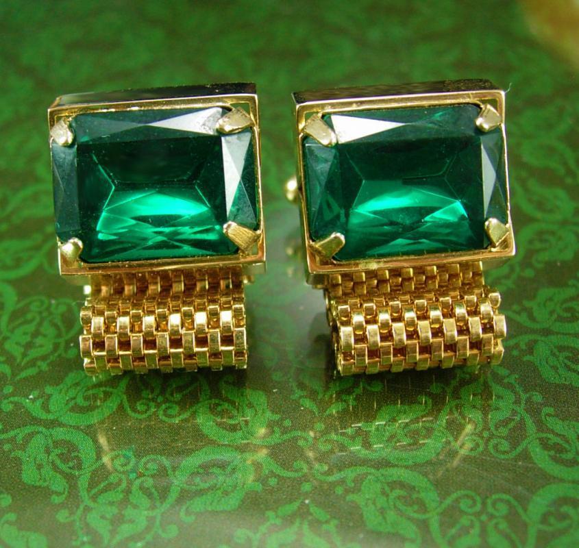 Vintage Green GLass cuff links Wrap Mesh Cufflinks Rhinestone Gold  st patricks day  Wedding Birthday Irish cuff links
