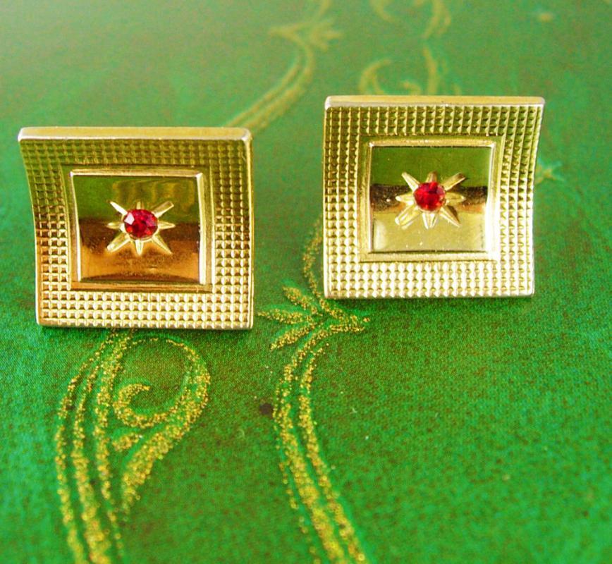 Ruby Star Cufflinks Vintage Gold Concave Textured Border Birthstone July gentlemen jewellery formal wear tuxedo accessory anniversary gift