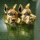 Vintage Swank great dane cufflinks Dog Breeder Animal Lover boxer mens cool gift jewellery Terrier gold cuff links dog groomer gift