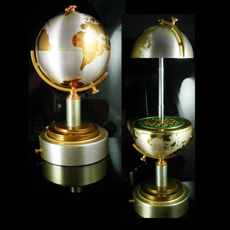 Vintage cigarette holder musical rotating globe mechanical box Mid century modern table stand music box