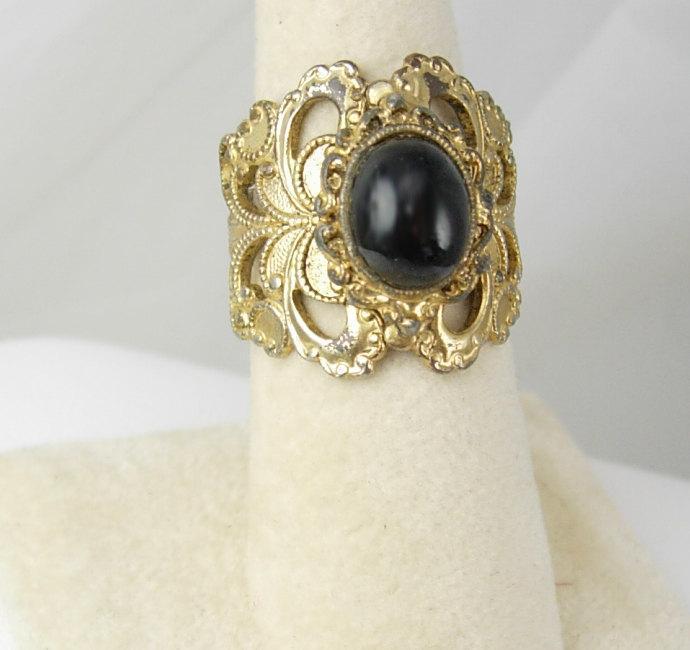 Vintage Gothic Filigree Ring Black Glass Holidays Birthday Anniversary