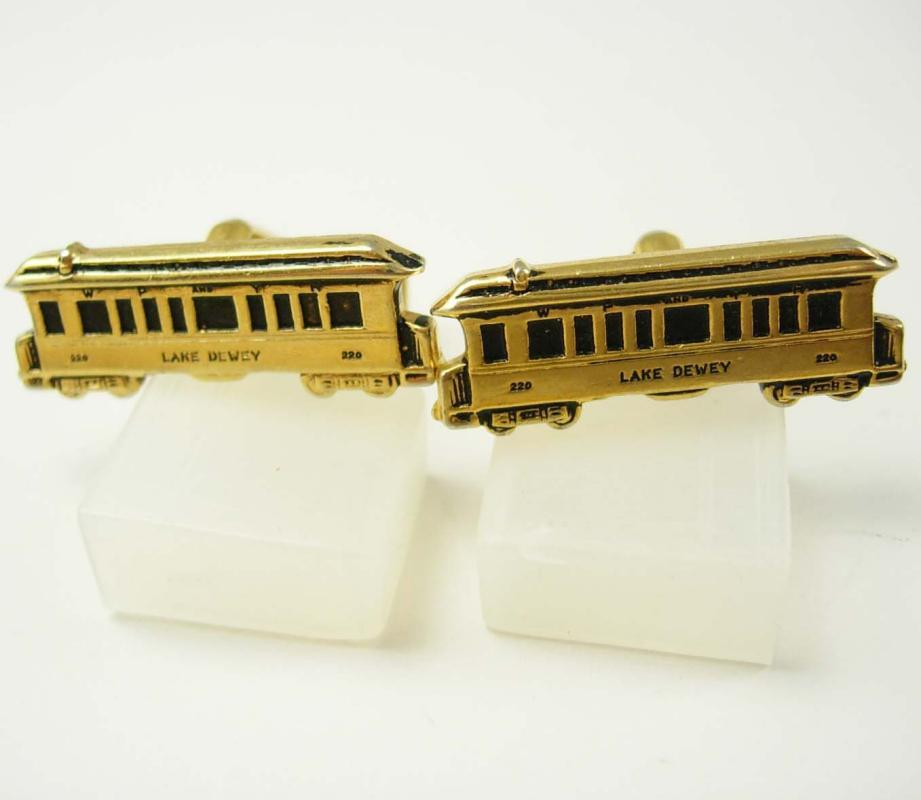 Mens Train cuff links Lake Dewey 220 Cufflinks Vintage Gold Railroad Coach Car Business Train Retirement birthday engineer cool gift for men