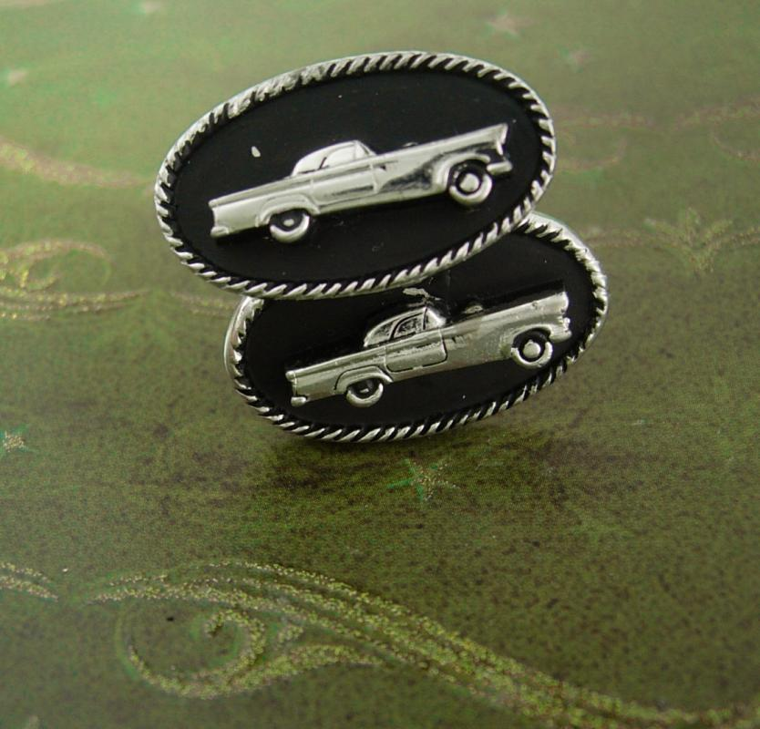 LARGE car cufflinks Vintage Antique Roadster 1957 tbird thunderbird MG Automobile Exhibition Car Shows classic Men's Novelty Cuff Jewelry
