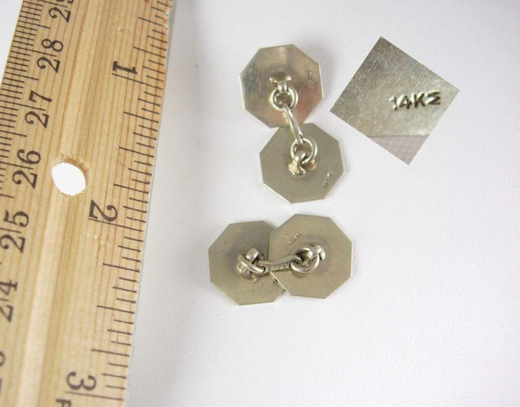 Antique Gold cufflinks 14kt white gold Victorian Wedding button set Hallmarked Fine Men's Women's Jewelry 10th 16th 23rd 25th anniversary