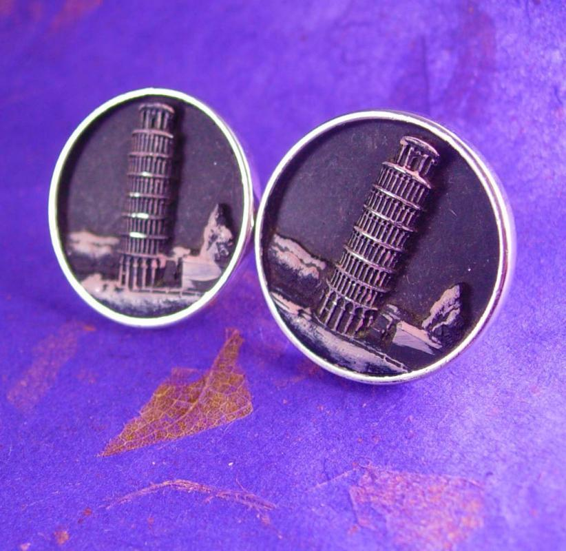 Extra large Italy cuff links  leaning Tower of PISA Cufflinks Vintage Rome Gemelli Architectural Design Hickok Cuff Jewelry silver black