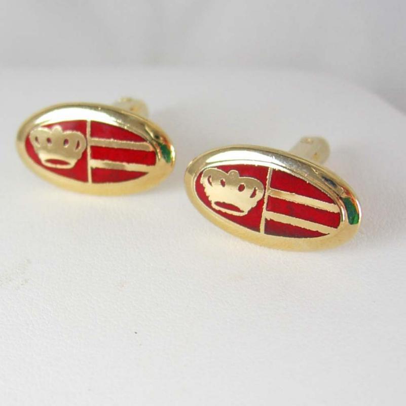 RED cufflinks Golden kings Crown Cuff links Vintage gold Enamel Designer Hickok Victorian Style Shirt Accessory wedding groom gift medieval