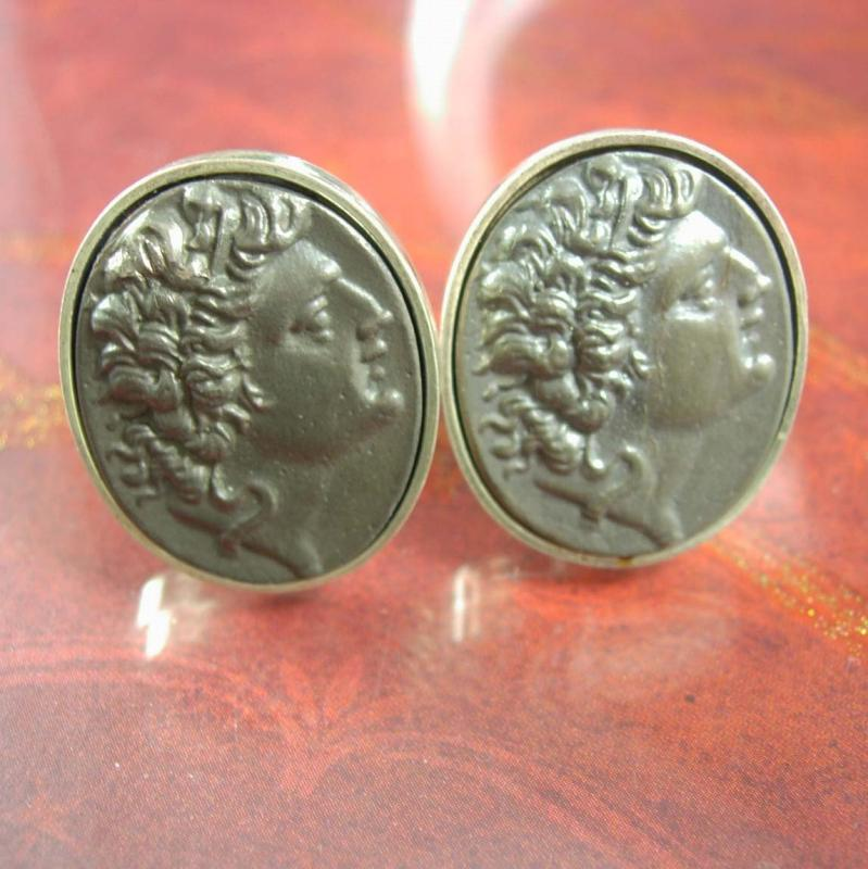 Alexander the Great cuff links sterling  GREEK Coin Cufflinks Figural Fine BYZANTINE Cuff link silver mens Jewelry