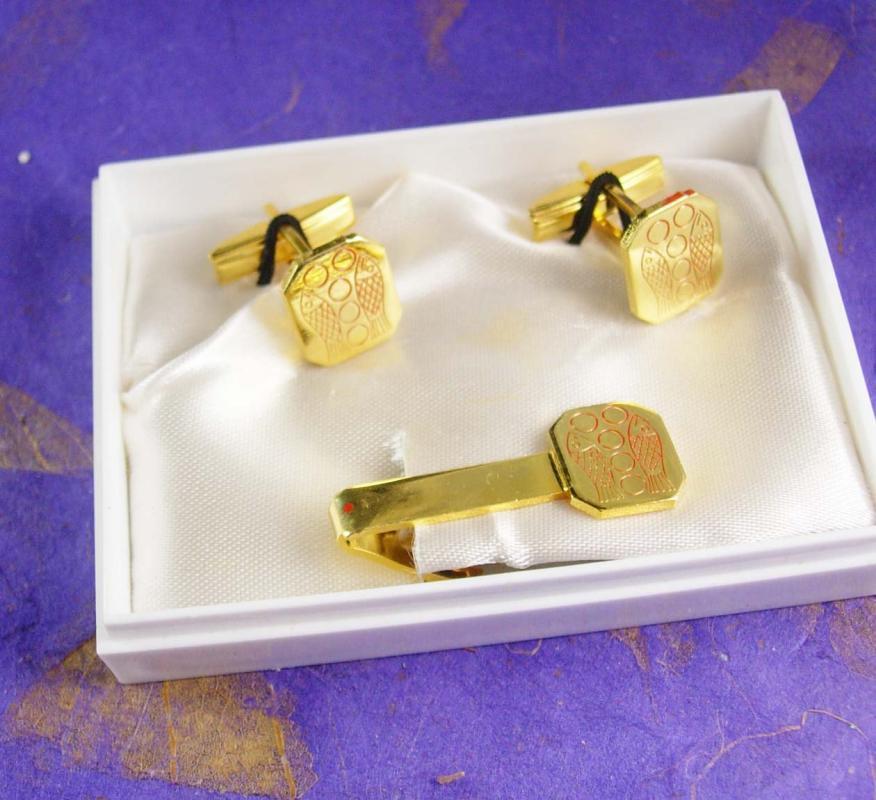 Boys First Communion Cufflinks Vintage Tie Clip Religious Fish Symbol Catholic Confirmation Complete Finish Set