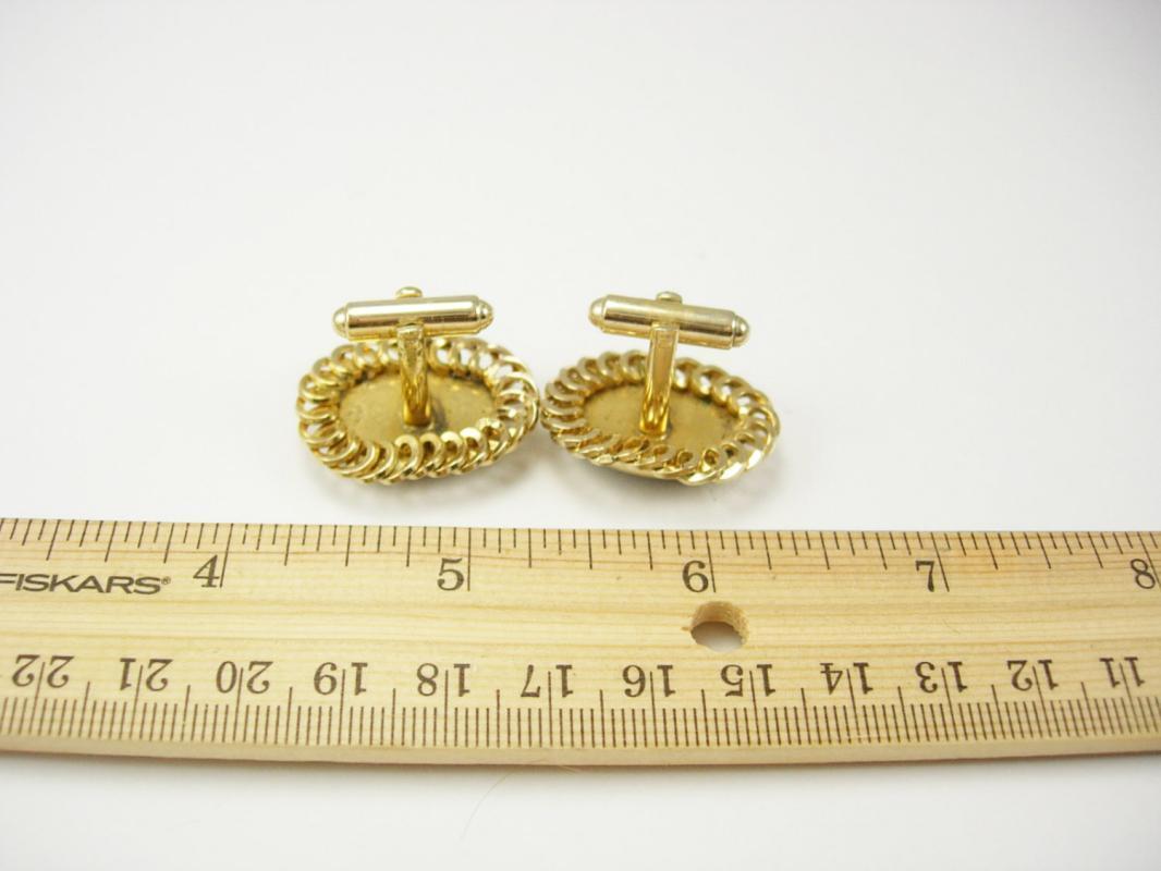 HAUNTED Grey Moonstone Cufflinks vintage Golden Flat Chain Edge Wedding groom gift unusual mens accessory jewelry cuff links