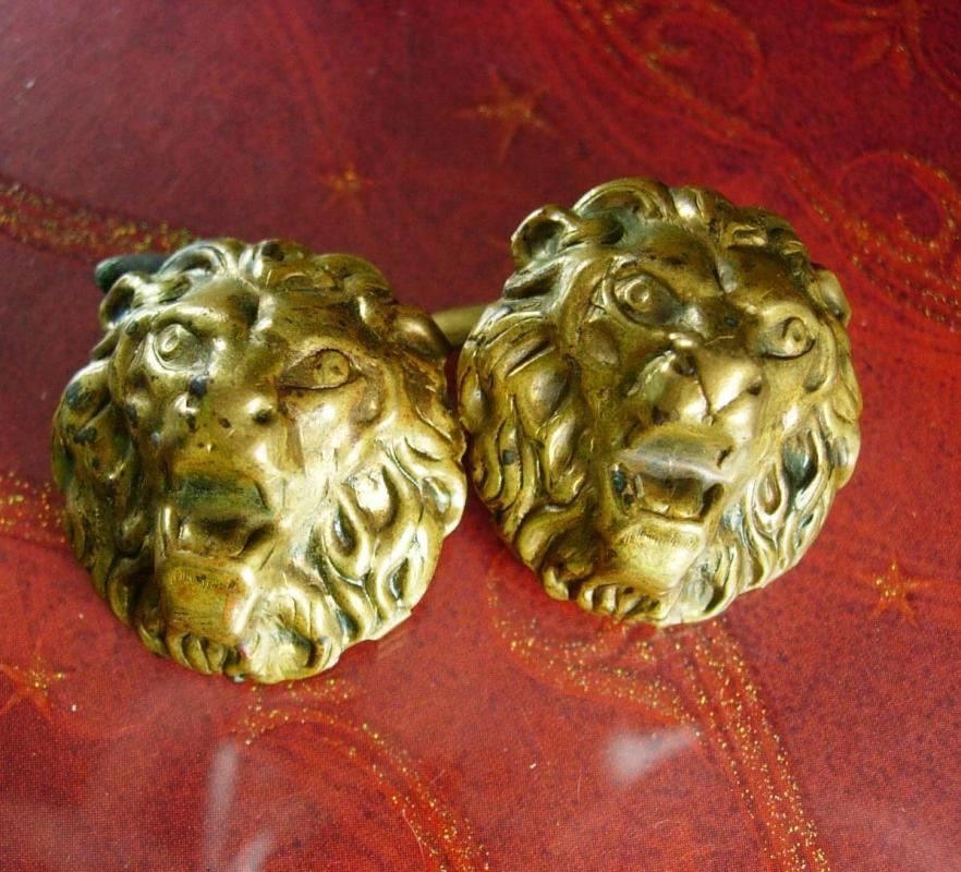 Antique fierce Lion Cufflinks Fine Jewelry mens estate jewelry victorian wedding groom jewelry cuff links vintage brass