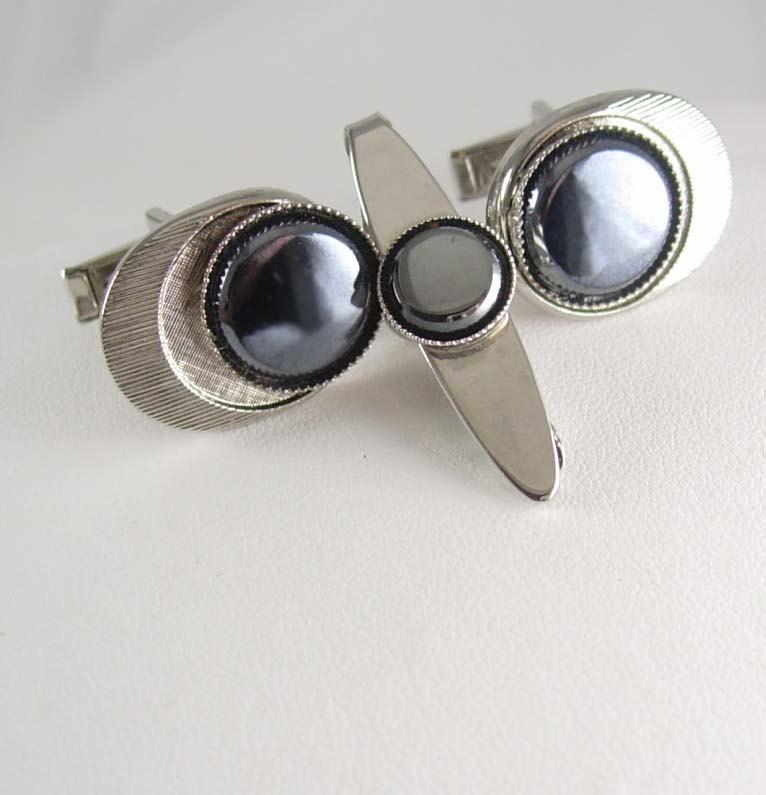 Mens accessory Vintage Hematite Cufflinks set tie clip wedding gift amulet groom formal wear groomsman father of bride gift silver jewelry