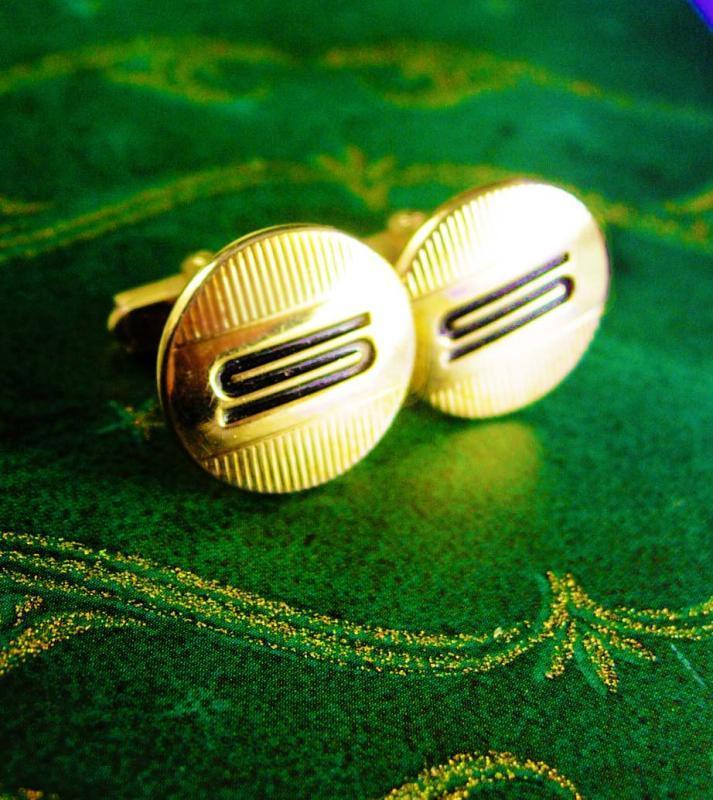 Vintage Swank monogram Cufflinks letter S Gold wedding gift personalized mens jewelry formal wear tuxedo cuff links gift