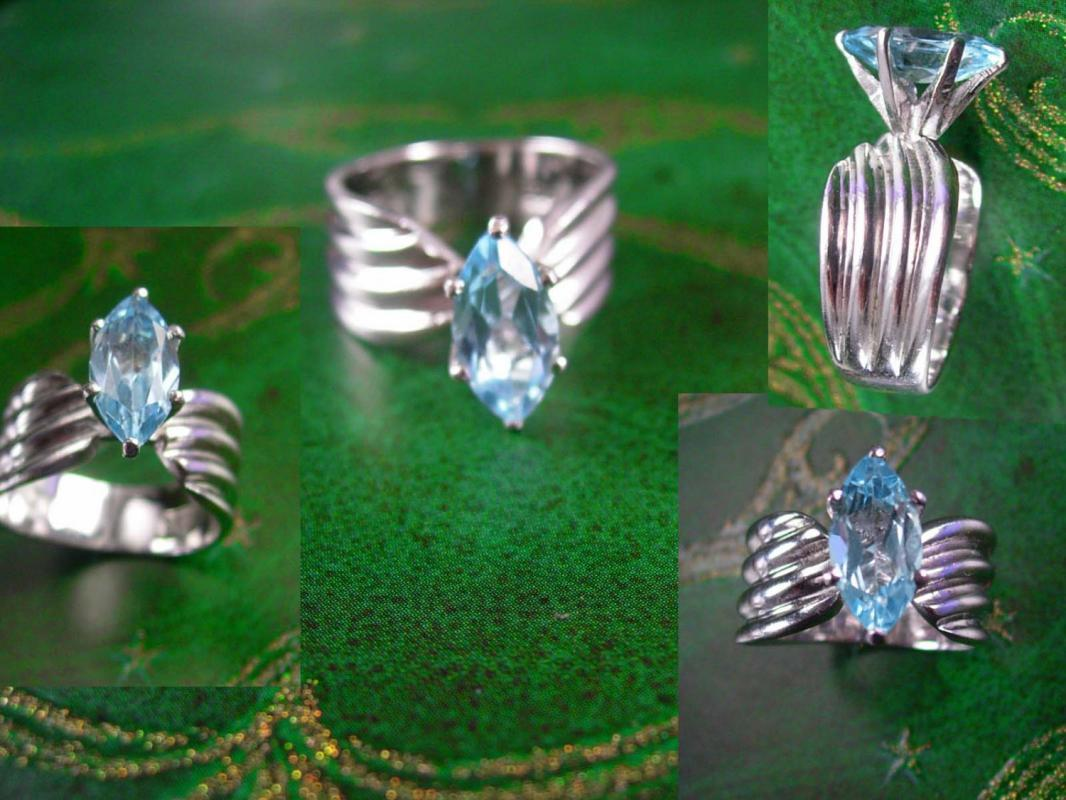 Reserved for Sam 3ct Blue Topaz Ring Sterling Silver Marquise Engagement Hallmarked Women's Jewelry Size 7 December birthstone  jewelry