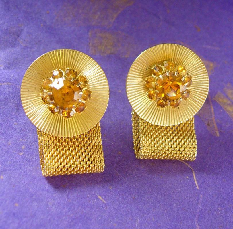 Elegant Topaz and Gold Cufflinks Vintage Mesh Wrap Multi Faceted Wedding Jewelry 13th 17th anniversary November gemstone sagittarius scorpio