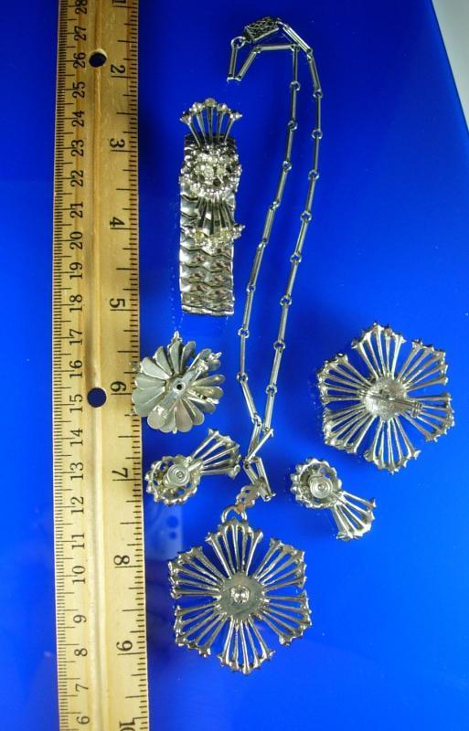 Occupied Japan Parure Vintage necklace bracelet chandelier earrings & 2 brooches Rhinestones Birthday Wedding jewelry 1940's