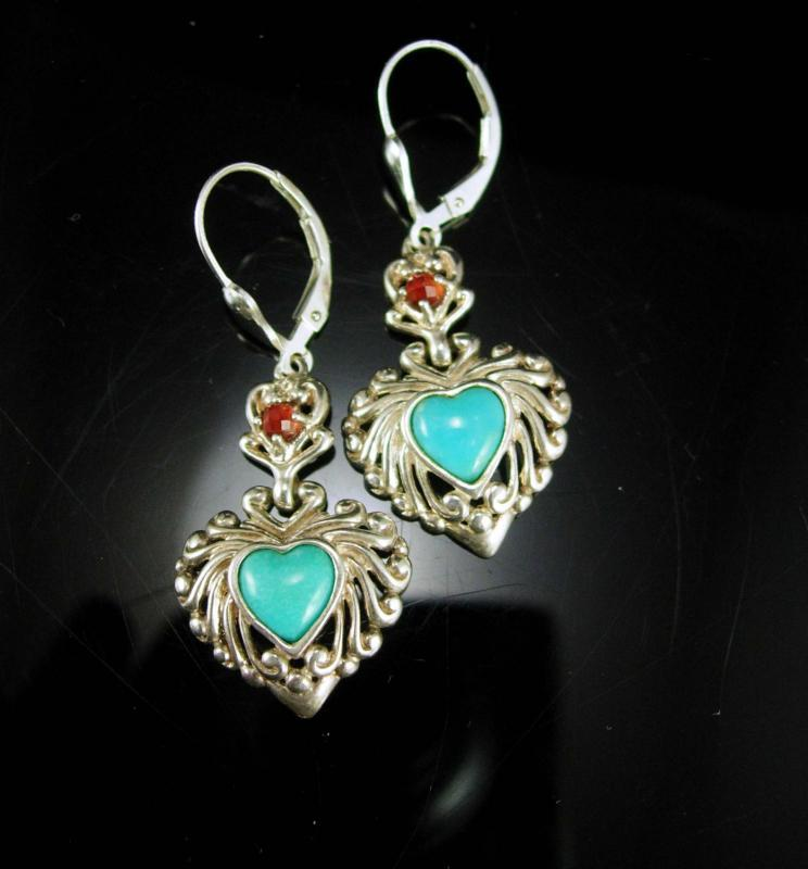 Turquoise heart Earrings Garnet Sweetheart GIFT Vintage Signed sterling silver jewelry pierced bridesmaid gift womens jewelry